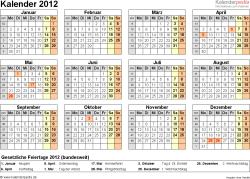 Vorlage 7: Jahreskalender 2012 als Word-Vorlage, Querformat, DIN A4, 1 Seite, Jahresübersicht, mit Feiertagen und Kalenderwochen