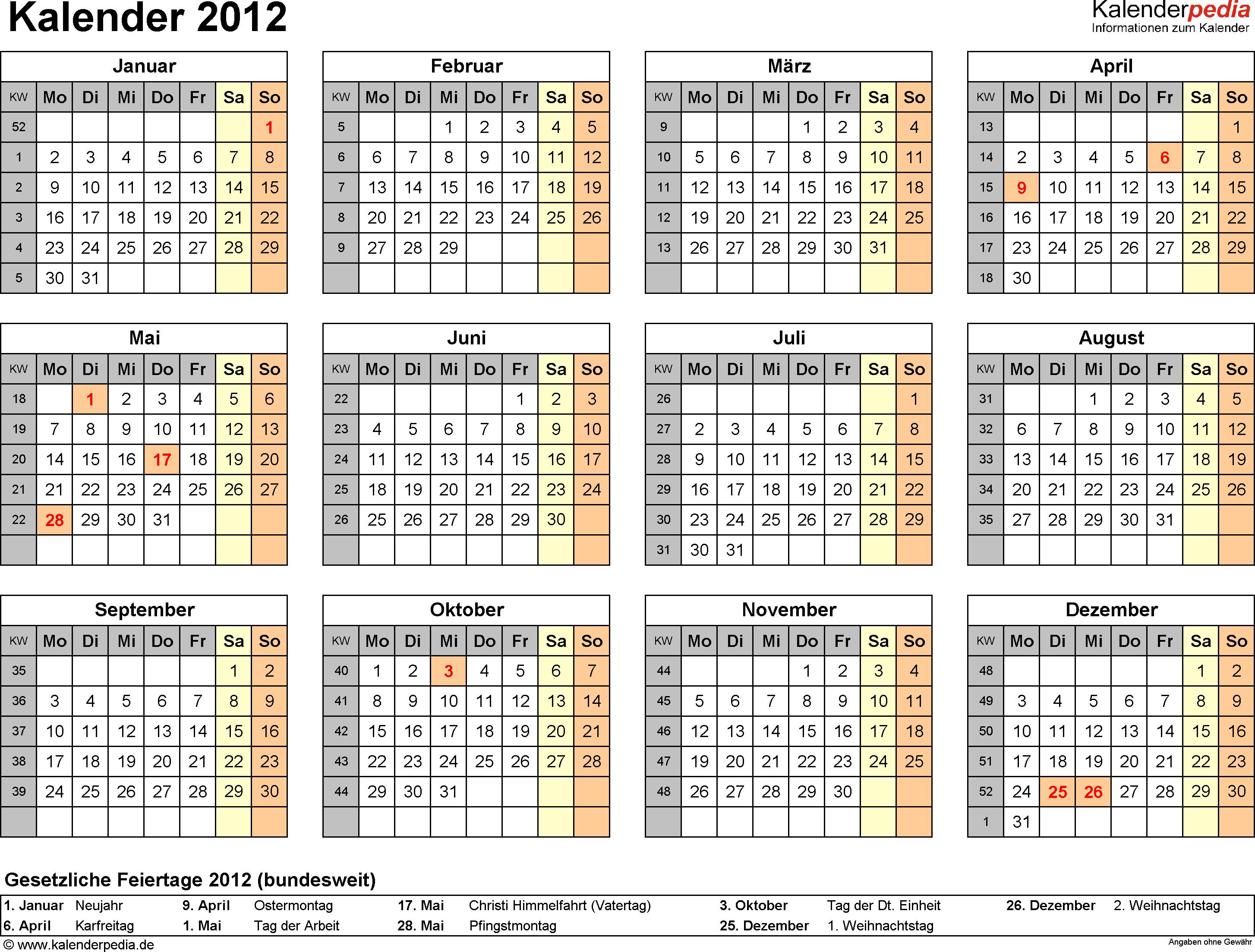 Vorlage 7: Jahreskalender 2012 als Excel-Vorlage, Querformat, DIN A4, 1 Seite, Jahresübersicht, mit Feiertagen und Kalenderwochen