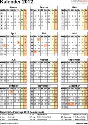 Vorlage 11: Jahreskalender 2012 als Word-Vorlage, Hochformat, 1 DIN A4 Seite, mit Feiertagen (ganz Deutschland) und Kalenderwochen 2012, geeignet für alle Word-Versionen