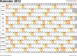 Vorlage 6: Jahreskalender 2012 als Word-Vorlage, Querformat, DIN A4, 1 Seite, Monate untereinander, Tage nebeneinander, mit Kalenderwochen 2012, geeignet für alle Word-Versionen