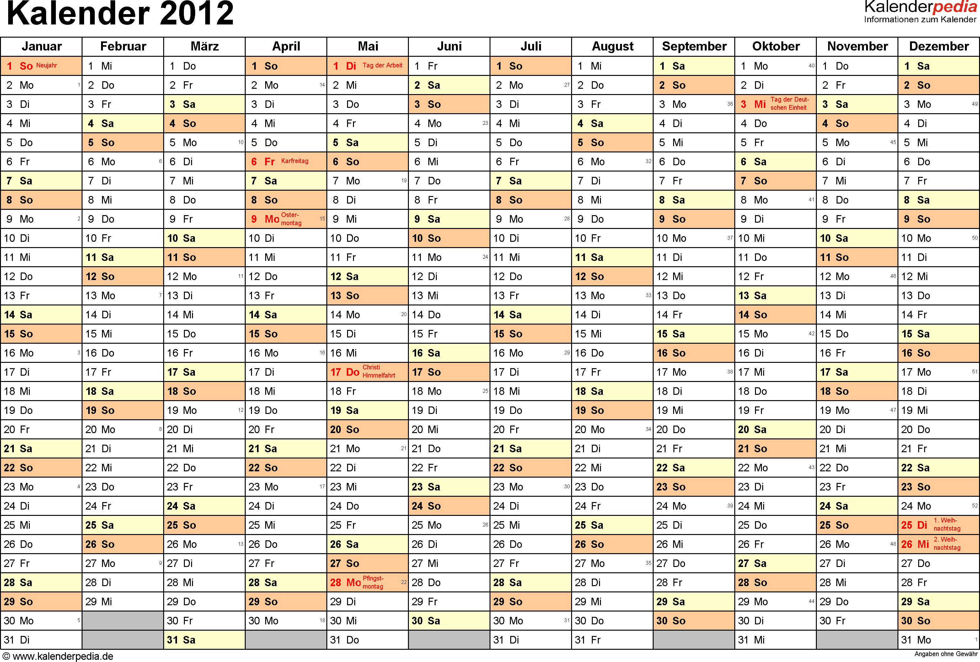 Vorlage 1: Jahreskalender 2012 als PDF-Vorlage, Querformat, DIN A4, 1 Seite, Monate nebeneinander, Tage untereinander, mit Feiertagen (ganz Deutschland) und Kalenderwochen 2012