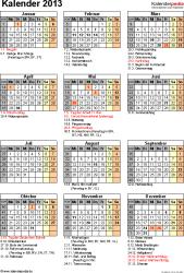 Vorlage 12: Jahreskalender 2013 als Excel-Vorlage, Hochformat, 1 DIN A4 Seite, mit Feiertagen und Festtagen 2013, mit Kalenderwochen 2013, geeignet für alle Excel-Versionen