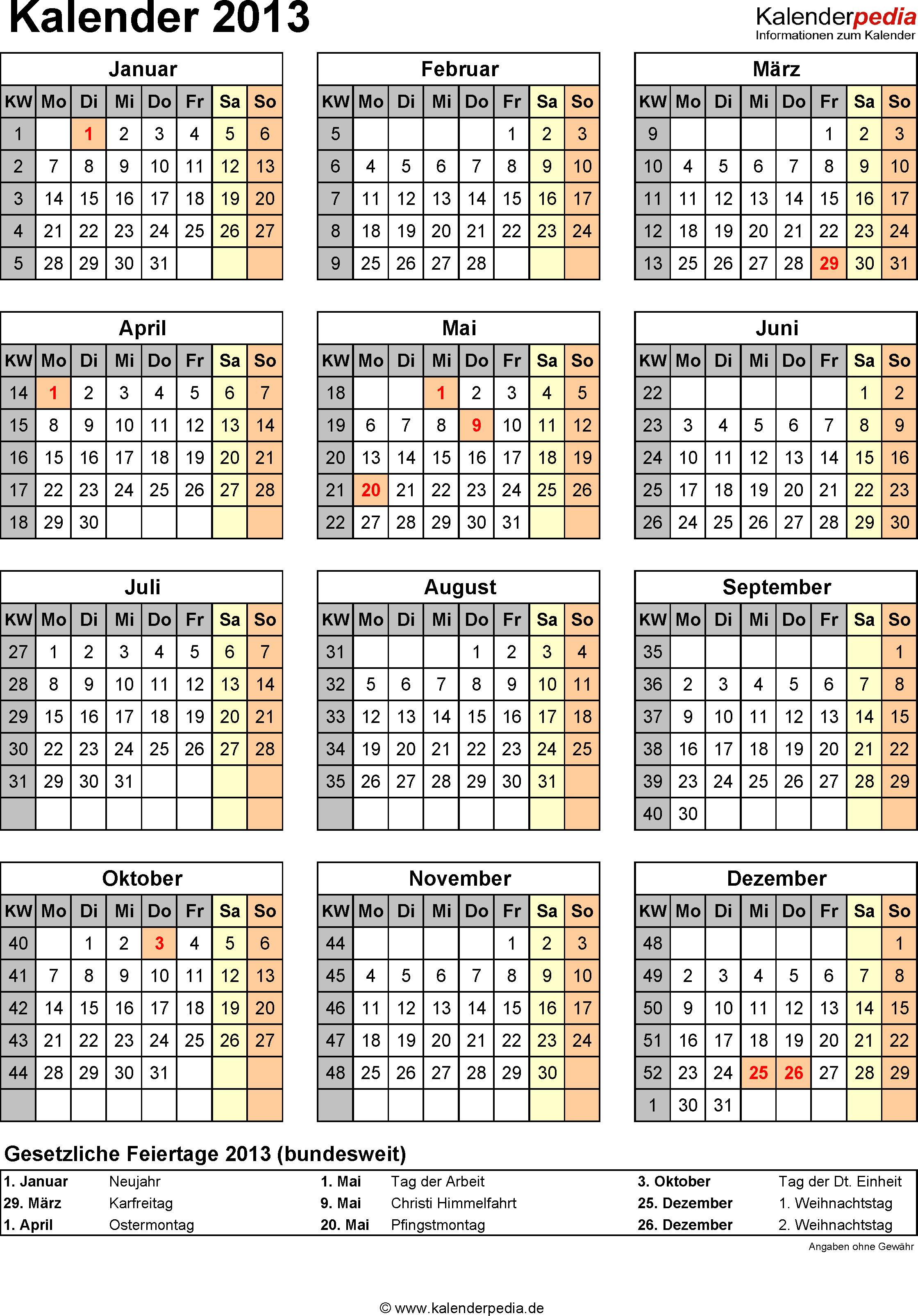 Kalender 2013 im Hochformat
