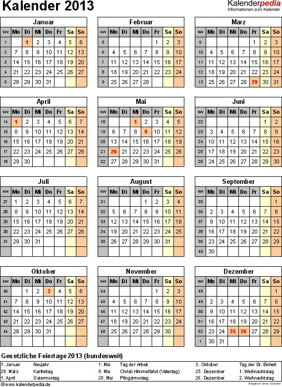 Vorlage 11: Jahreskalender 2013 als Excel-Vorlage, Hochformat, 1 DIN A4 Seite, mit Feiertagen (ganz Deutschland) und Kalenderwochen 2013, geeignet für alle Excel-Versionen