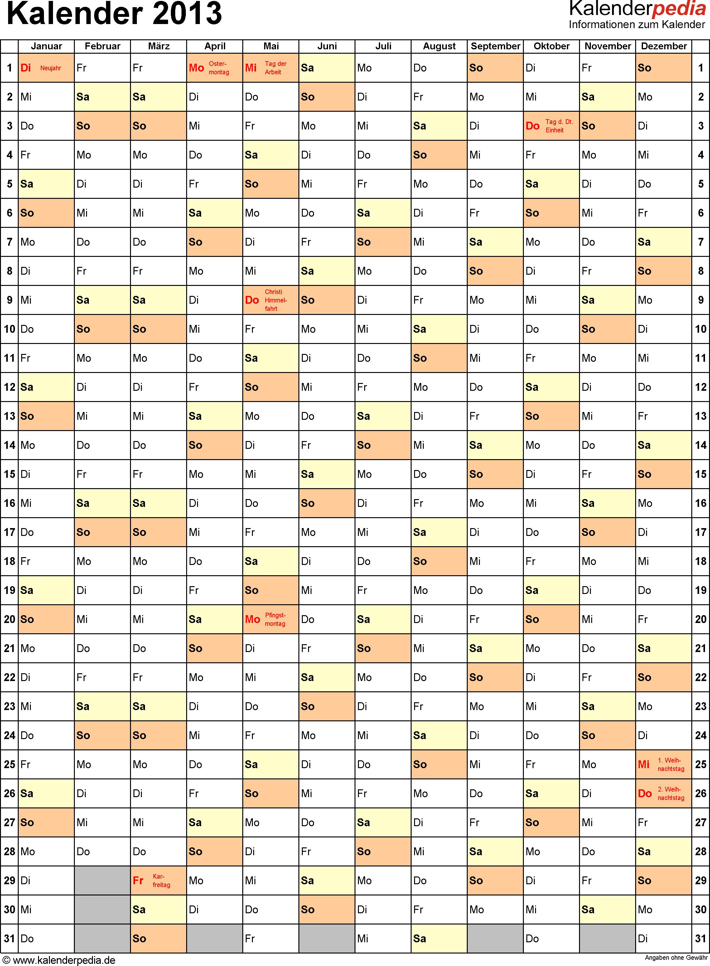 Vorlage 8: Jahreskalender 2013 als Excel-Vorlage, Hochformat, 1 DIN A4 Seite, mit Feiertagen (ganz Deutschland), geeignet für alle Excel-Versionen