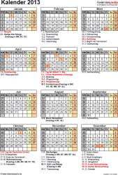 Vorlage 12: Jahreskalender 2013 als PDF-Vorlage, Hochformat, 1 DIN A4 Seite, mit Feiertagen und Festtagen 2013, mit Kalenderwochen