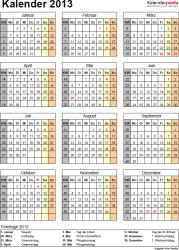 Vorlage 11: Jahreskalender 2013 als PDF-Vorlage, Hochformat, 1 DIN A4 Seite, mit Feiertagen (ganz Deutschland) und Kalenderwochen