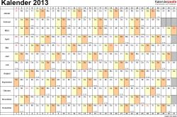 Vorlage 6: Jahreskalender 2013 als PDF-Vorlage, Querformat, DIN A4, 1 Seite, Monate untereinander, Tage nebeneinander, mit Kalenderwochen