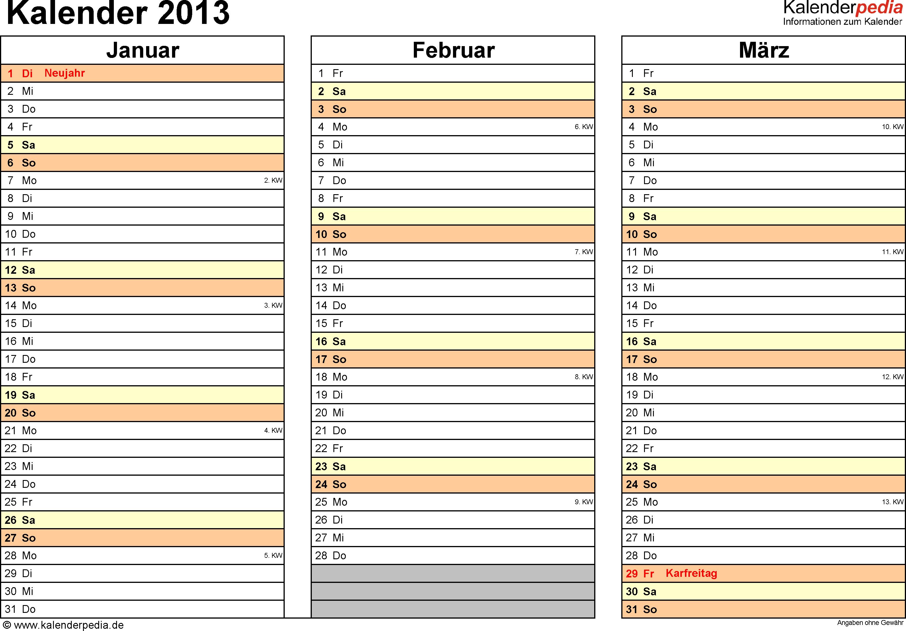 Vorlage 6: Jahreskalender 2013 als PDF-Vorlage, Querformat, DIN A4, 4 Seiten, Quartal auf einer Seite, mit Feiertagen (ganz Deutschland) und Kalenderwochen