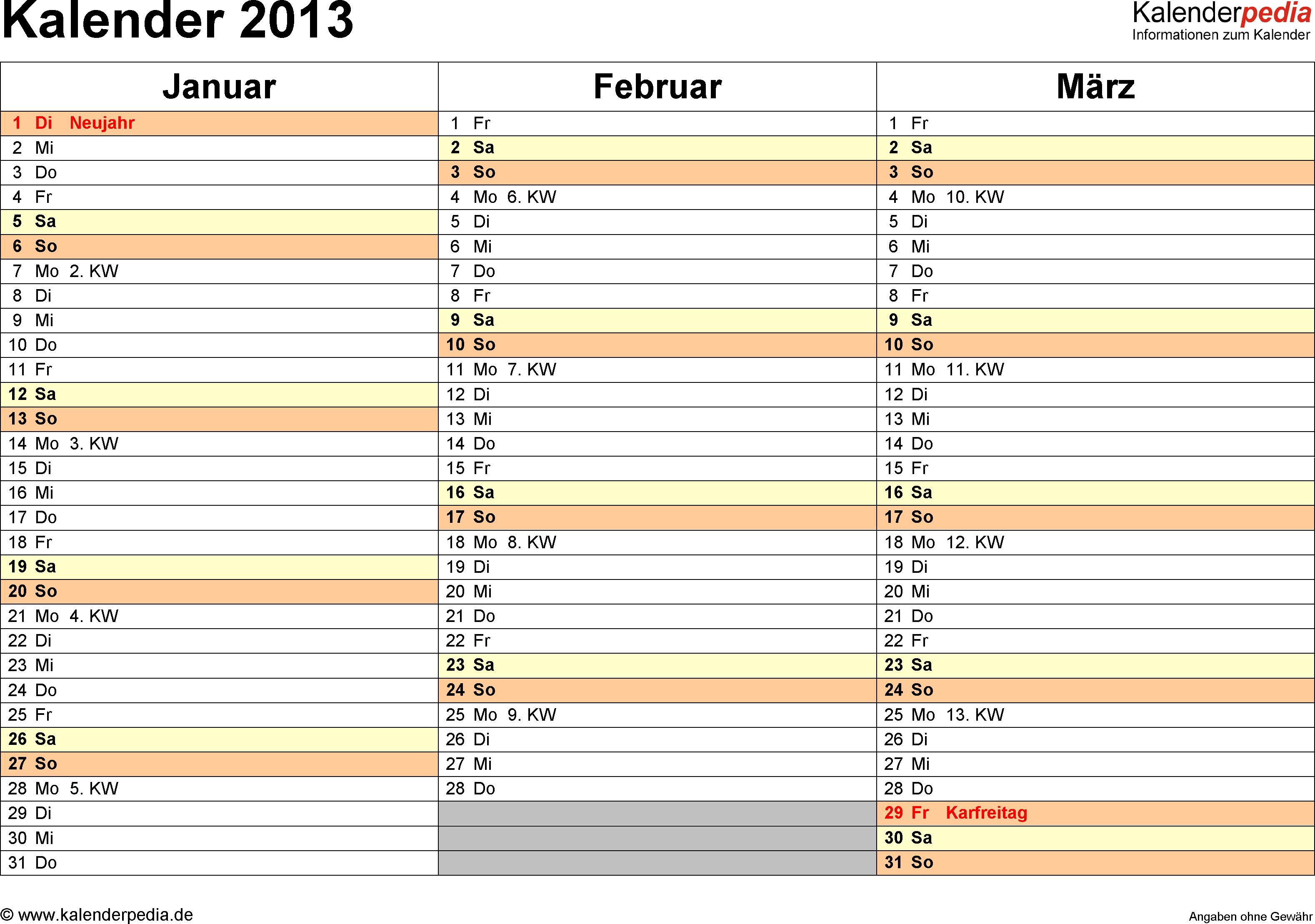 Vorlage 5: Jahreskalender 2013 als Word-Vorlage, Querformat, DIN A4, 4 Seiten, Quartal auf einer Seite, mit Feiertagen (ganz Deutschland) und Kalenderwochen