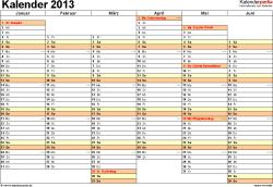 Vorlage 5: Jahreskalender 2013 als Excel-Vorlage, Querformat, DIN A4, 2 Seiten, Tage nebeneinander, 1. Halbjahr und 2. Halbjahr auf jeweils eigener Seite, mit Feiertagen und Kalenderwochen 2013, geeignet für alle Excel-Versionen