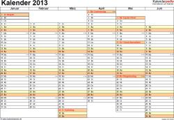 Vorlage 5: Jahreskalender 2013 als PDF-Vorlage, Querformat, DIN A4, 2 Seiten, Tage nebeneinander, 1. Halbjahr und 2. Halbjahr auf jeweils eigener Seite, mit Feiertagen und Kalenderwochen