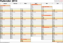 Vorlage 5: Jahreskalender 2013 als Word-Vorlage, Querformat, DIN A4, 2 Seiten, Tage nebeneinander, 1. Halbjahr und 2. Halbjahr auf jeweils eigener Seite, mit Feiertagen und Kalenderwochen, geeignet für alle Word-Versionen