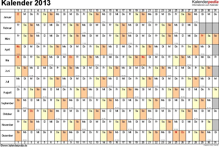 Vorlage 6: Jahreskalender 2013 als Excel-Vorlage, Querformat, DIN A4, 1 Seite, Monate untereinander, Tage nebeneinander, mit Kalenderwochen 2013, geeignet für alle Excel-Versionen