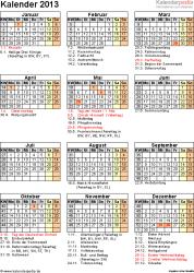 Vorlage 12: Jahreskalender 2013 als Word-Vorlage, Hochformat, 1 DIN A4 Seite, mit Feiertagen und Festtagen 2013, mit Kalenderwochen, geeignet für alle Word-Versionen