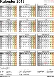 Vorlage 11: Jahreskalender 2013 als Word-Vorlage, Hochformat, 1 DIN A4 Seite, mit Feiertagen (ganz Deutschland) und Kalenderwochen, geeignet für alle Word-Versionen
