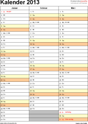 Vorlage 10: Jahreskalender 2013 als Word-Vorlage, Hochformat, 4 DIN A4 Seiten, 3 Monate auf einer A4-Seite, mit Feiertagen (ganz Deutschland) und Kalenderwochen, geeignet für alle Word-Versionen