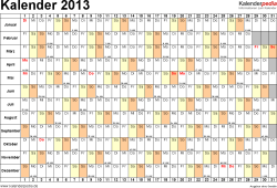 Vorlage 6: Jahreskalender 2013 als Word-Vorlage, Querformat, DIN A4, 1 Seite, Monate untereinander, Tage nebeneinander, mit Kalenderwochen, geeignet für alle Word-Versionen