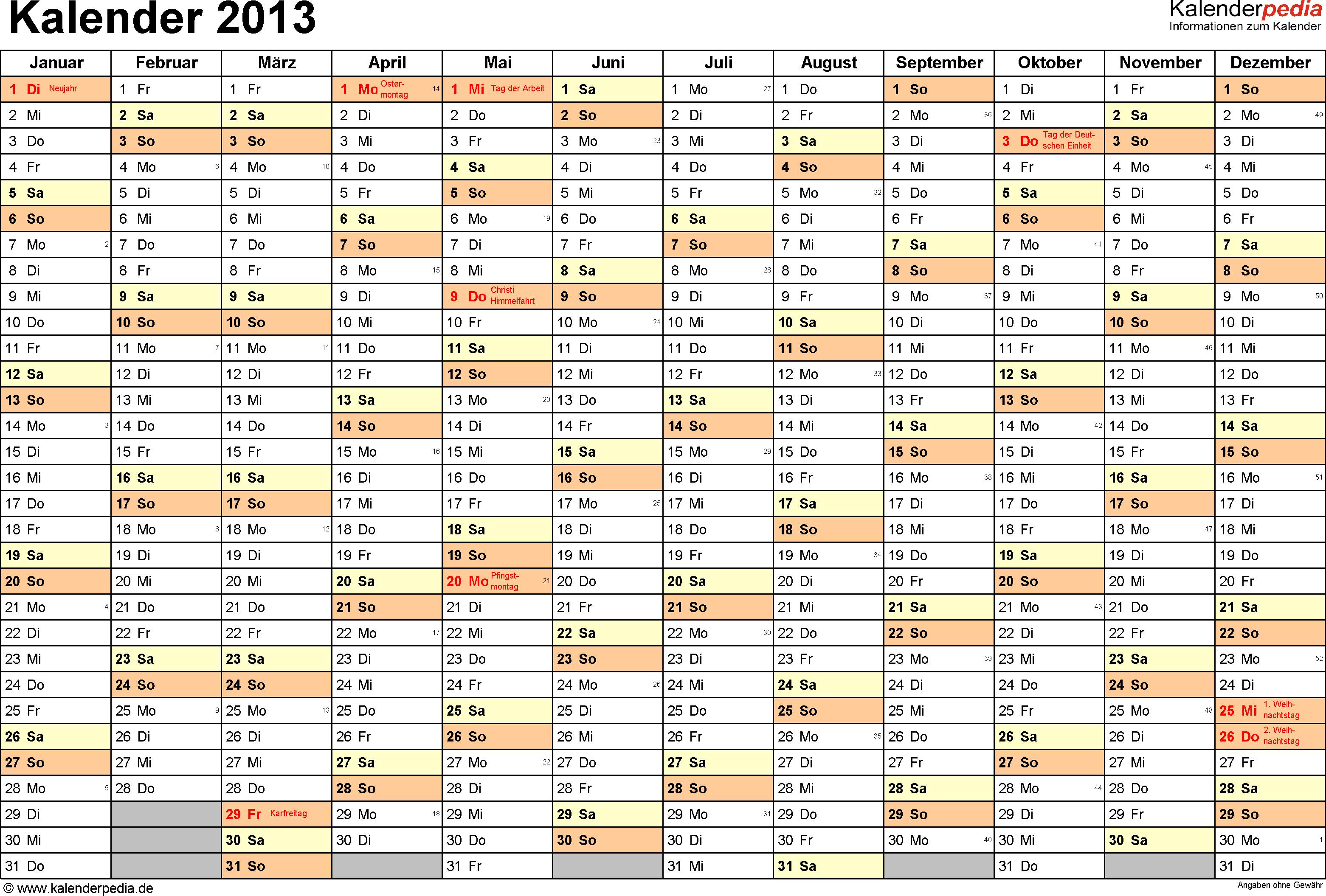 Vorlage 1: Jahreskalender 2013 als Excel-Vorlage, Querformat, DIN A4, 1 Seite, Monate nebeneinander, Tage untereinander, mit Feiertagen (ganz Deutschland) und Kalenderwochen 2013, geeignet für alle Excel-Versionen