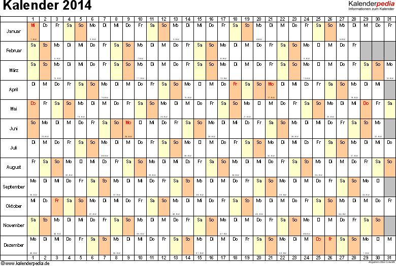 Vorlage 6: Kalender 2014 für <span style=white-space:nowrap;>Excel, Querformat, 1 Seite, Tage nebeneinander