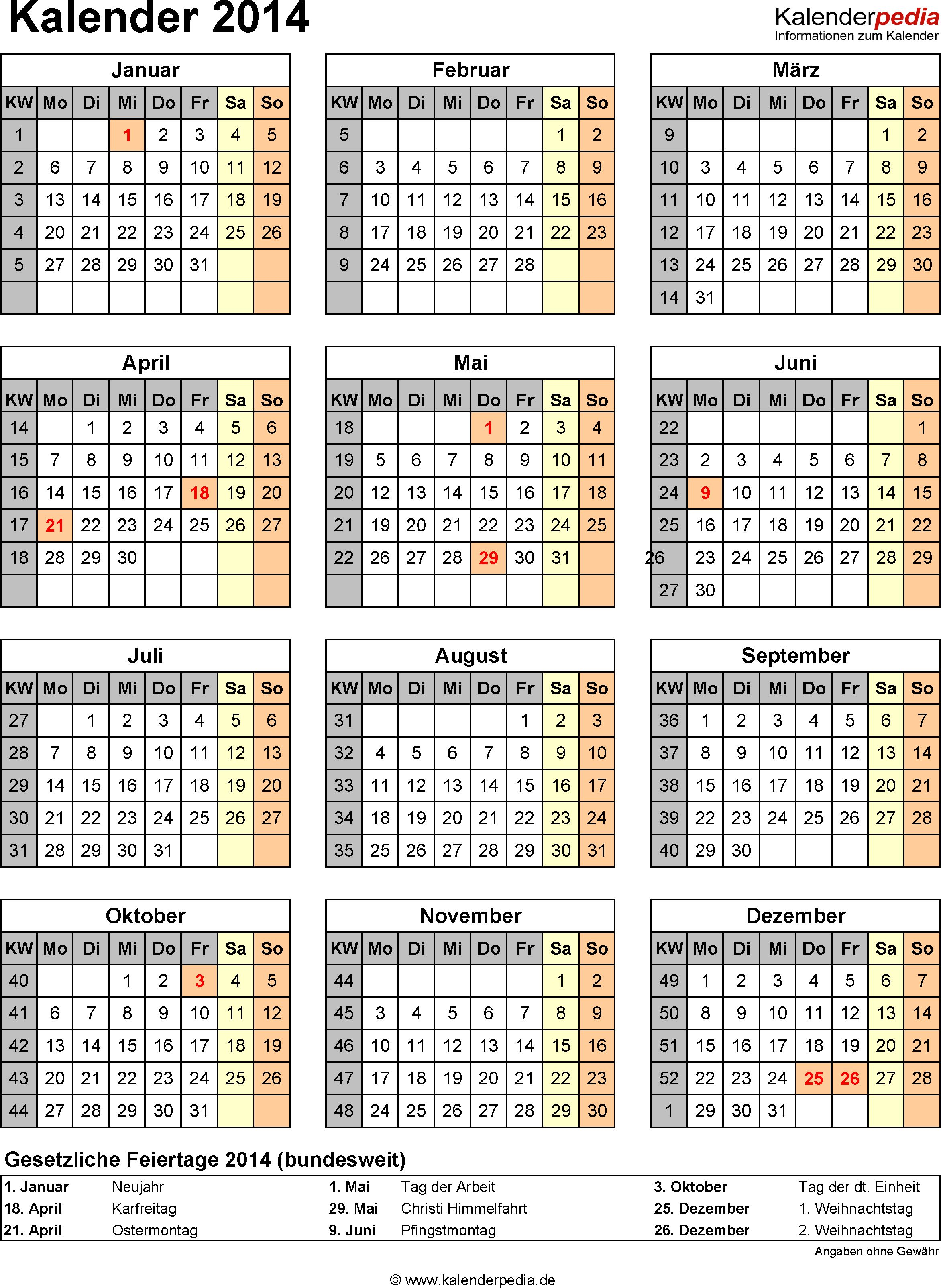 Kalender 2014 mit Feiertagen und Kalenderwochen