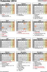 Vorlage 16: Kalender 2014 f�r Excel, Hochformat, 1 Seite, mit Feiertagen und Festtagen