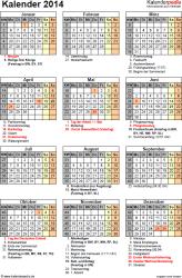 Vorlage 16: Kalender 2014 als PDF-Datei, Jahresansicht, Hochformat, 1 Seite, mit Feiertagen und Festtagen