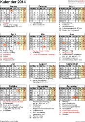 Vorlage 16: Kalender 2014 für Word, Jahresansicht, Hochformat, 1 Seite, mit Feiertagen und Festtagen