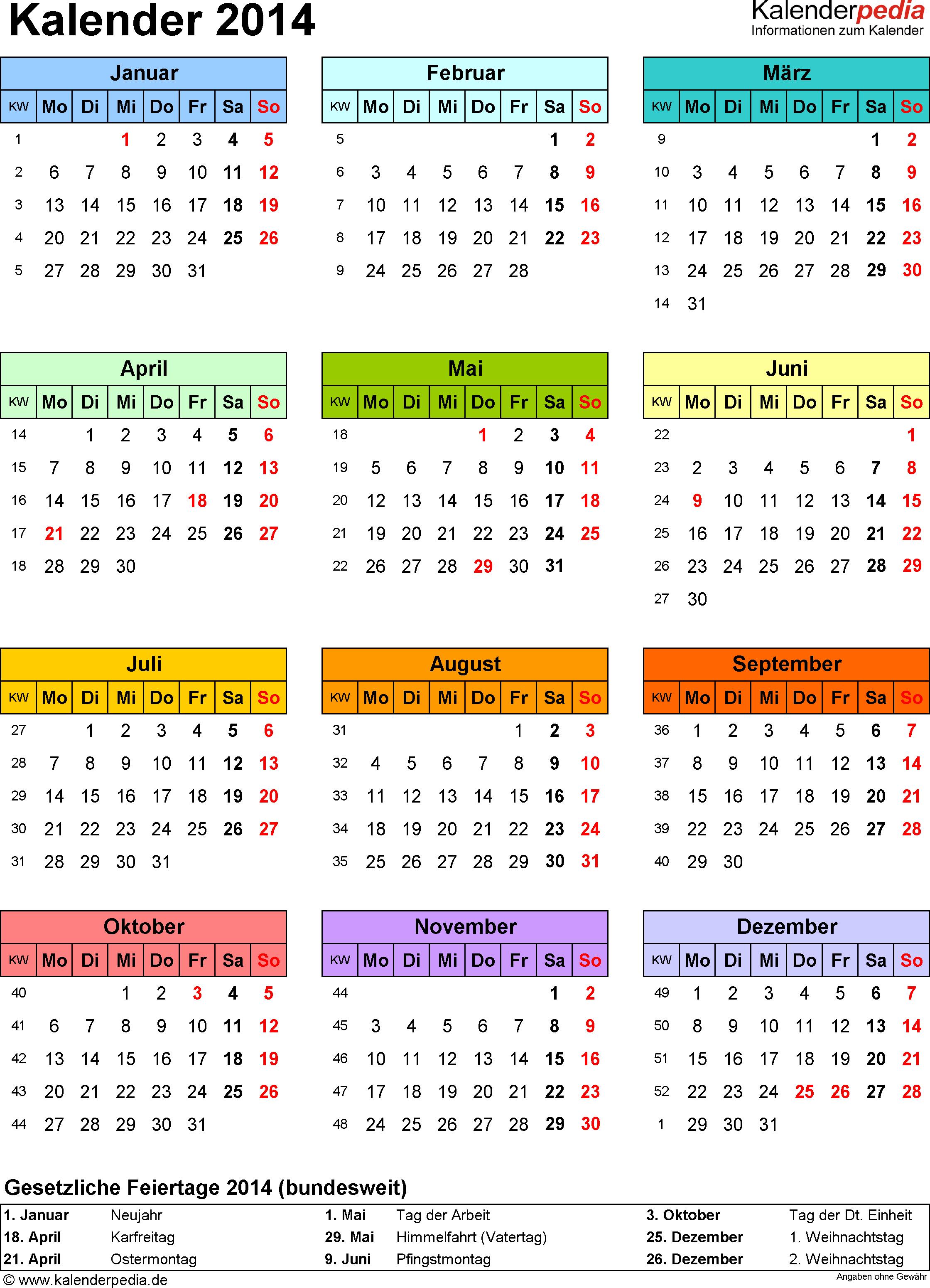 Vorlage 14: Kalender 2014 für Word, Jahresansicht, Hochformat, 1 Seite, in Farbe
