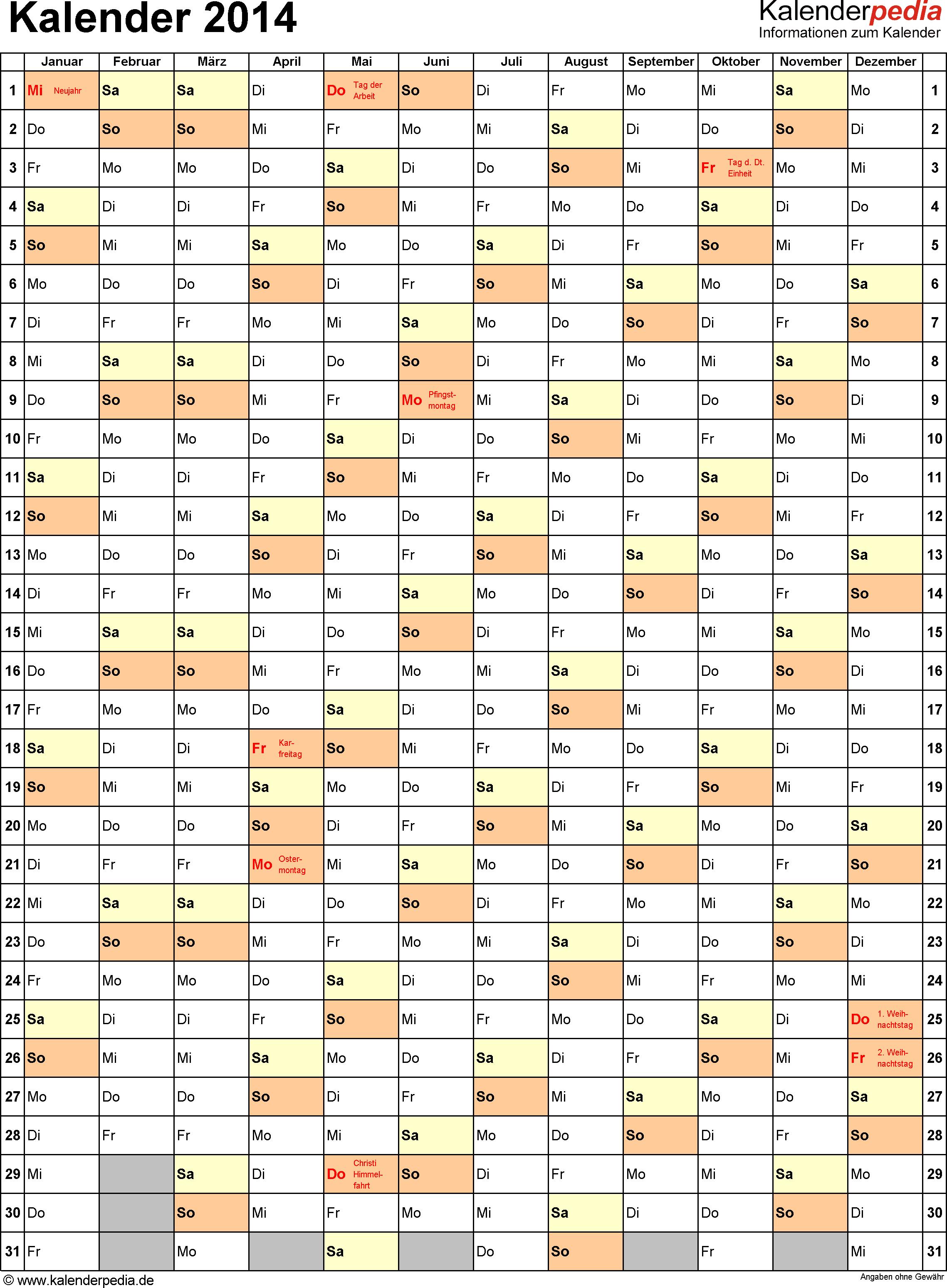 Vorlage 10: Kalender 2014 für Excel, Jahresansicht, Hochformat, 1 Seite