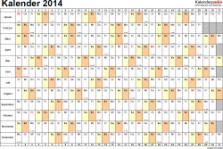 Vorlage 6: Kalender 2014 als <span style=white-space:nowrap;>PDF-Datei, Querformat, 1 Seite, Tage nebeneinander