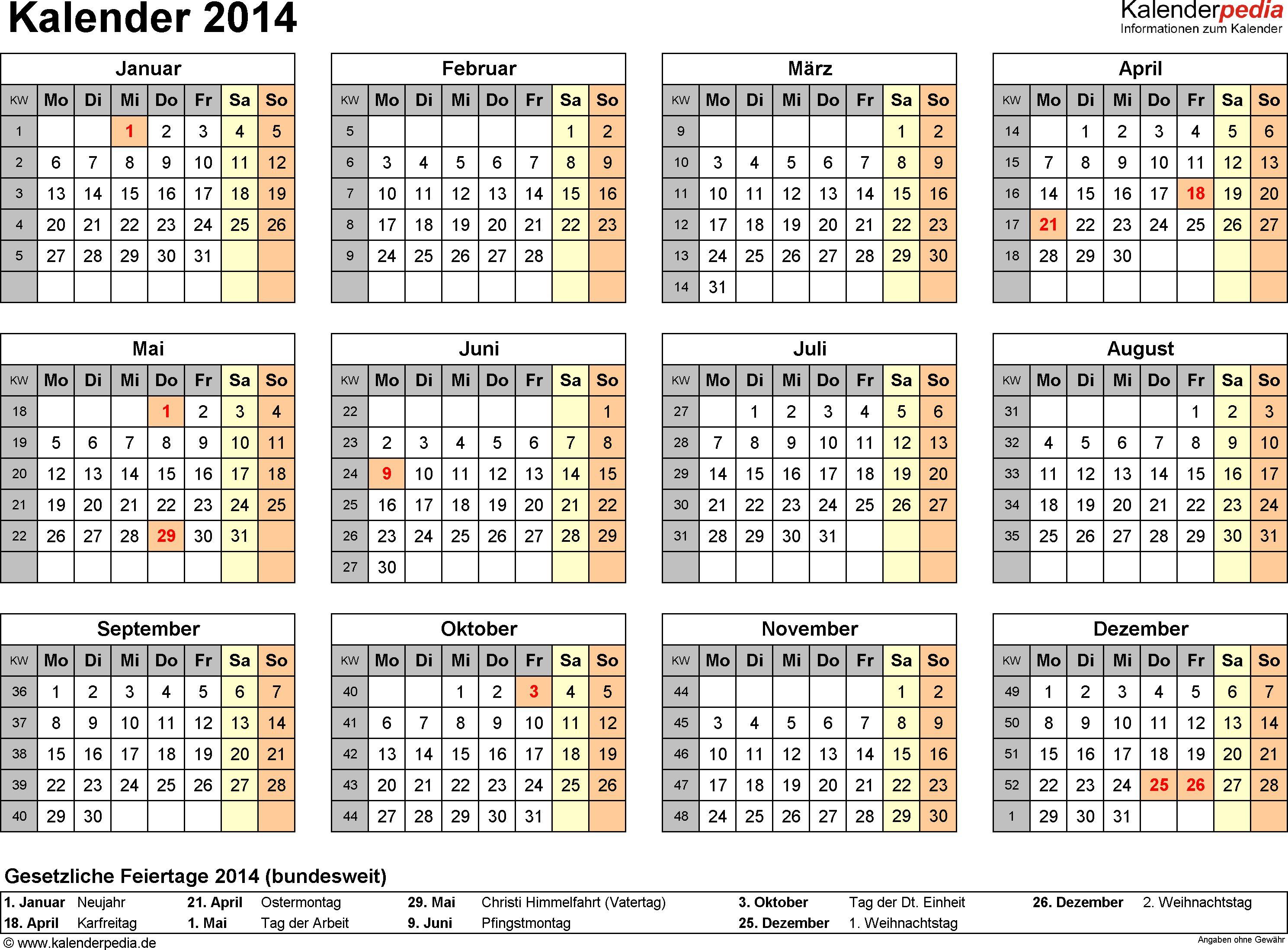 Kalender 2014 Mit Excel Pdf Word Vorlagen Feiertagen Ferien Kw