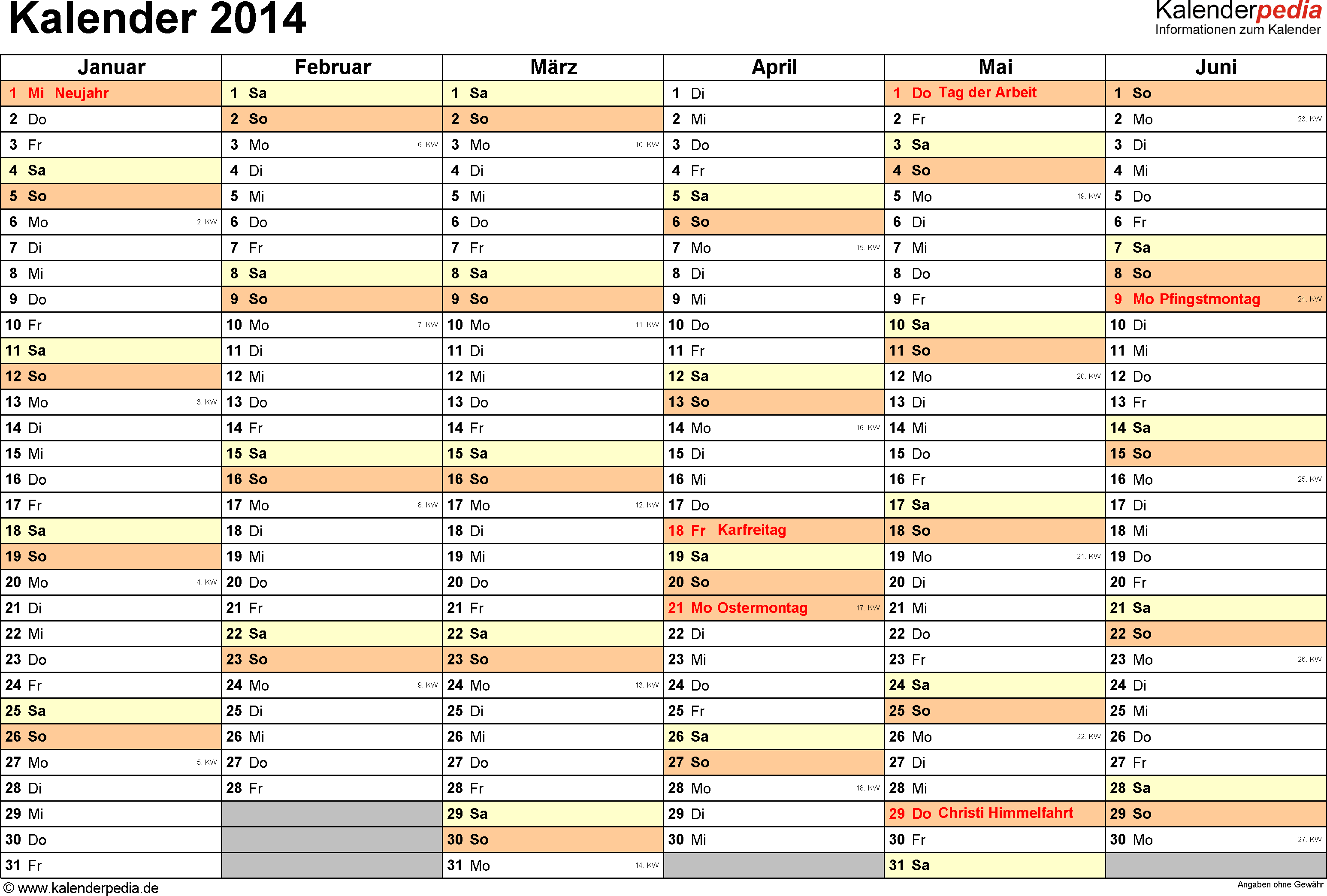 Vorlage 3: Kalender 2014 für <span style=white-space:nowrap;>Word, Querformat, 2 Seiten, 1. Halbjahr (Januar bis Juni 2014) & 2. Halbjahr (Juli bis Dezember 2014) auf einen Blick