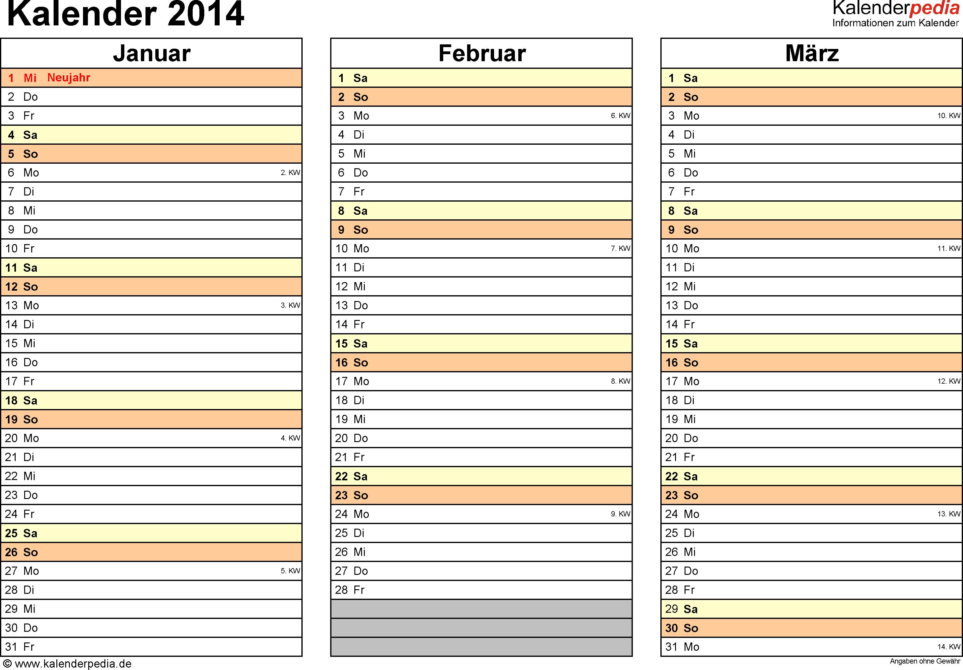 Vorlage 5: Kalender 2014 als <span style=white-space:nowrap;>PDF-Datei, Querformat, 4 Seiten, jedes Quartal auf einer Seite