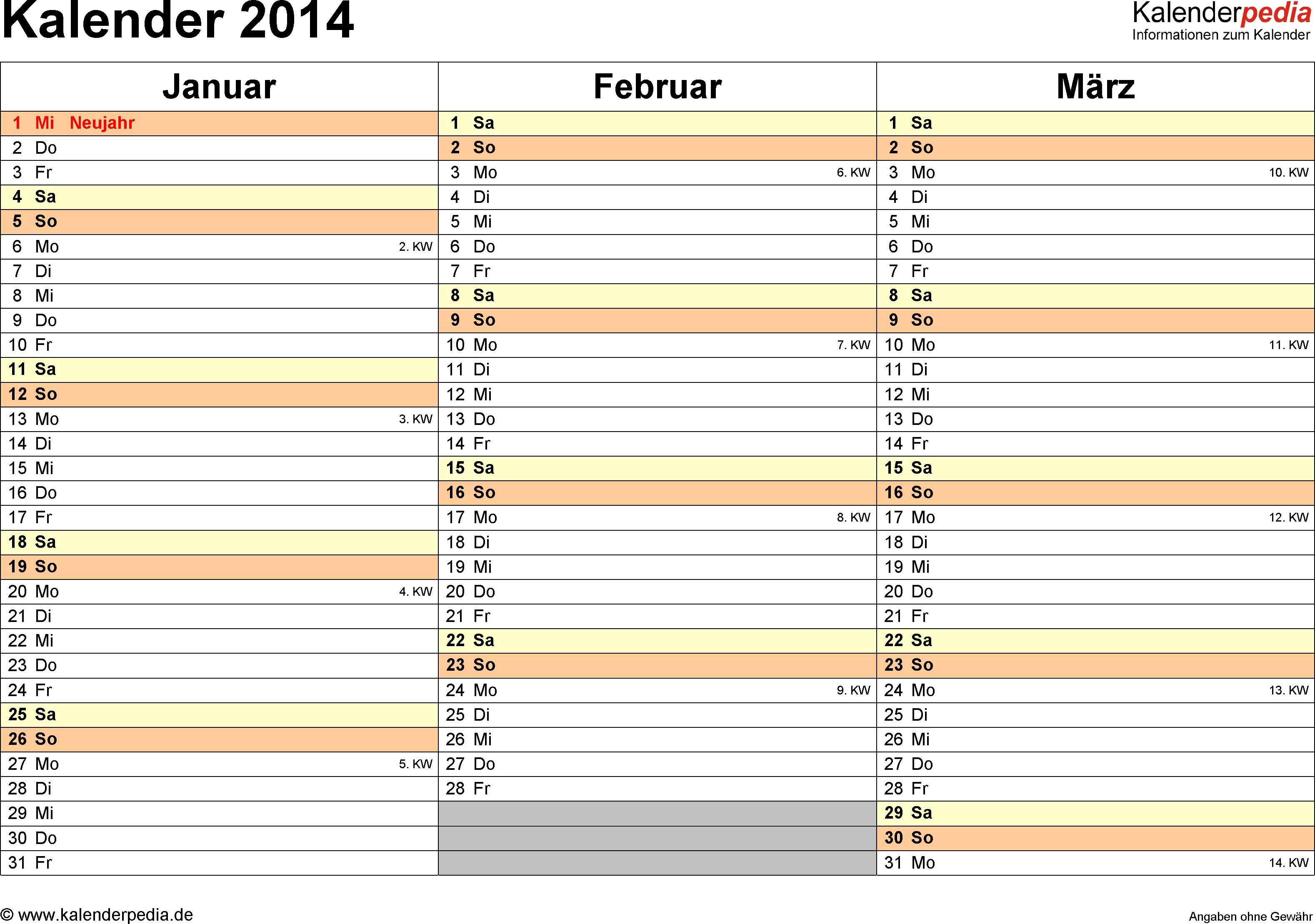 Vorlage 5: Kalender 2014 für <span style=white-space:nowrap;>Word, Querformat, 4 Seiten, jedes Quartal auf einer Seite