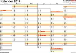 Vorlage 5: Kalender 2014 für Excel, Querformat, 2 Seiten, Wochentage nebeneinander, 1. Jahreshälfte und 2. Jahreshälfte auf jeweils eigener Seite