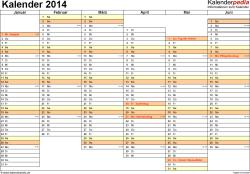 Vorlage 5: Kalender 2014 als PDF-Datei, Querformat, 2 Seiten, Wochentage nebeneinander, 1. Jahreshälfte und 2. Jahreshälfte auf jeweils eigener Seite