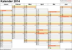 Vorlage 4: Kalender 2014 für Word, Querformat, 2 Seiten, Wochentage linear/nebeneinander, 1. Jahreshälfte und 2. Jahreshälfte auf jeweils eigener Seite