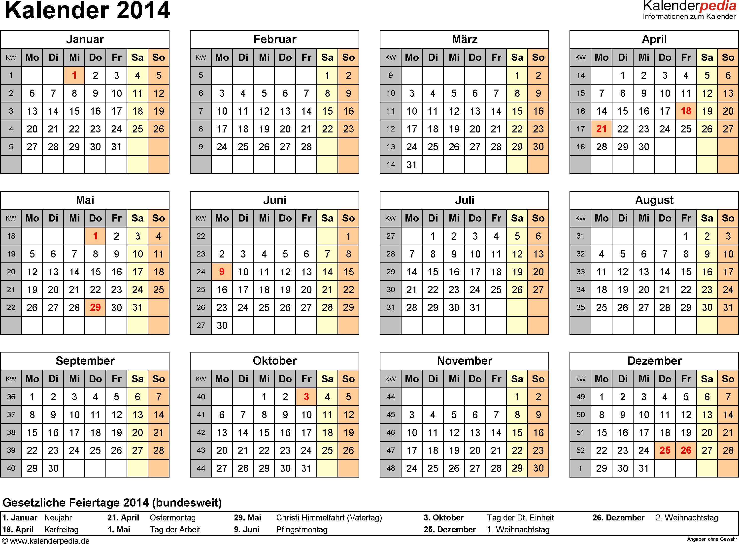 Vorlage 8: Kalender 2014 für <span style=white-space:nowrap;>Word, Querformat, 1 Seite, Jahresübersicht