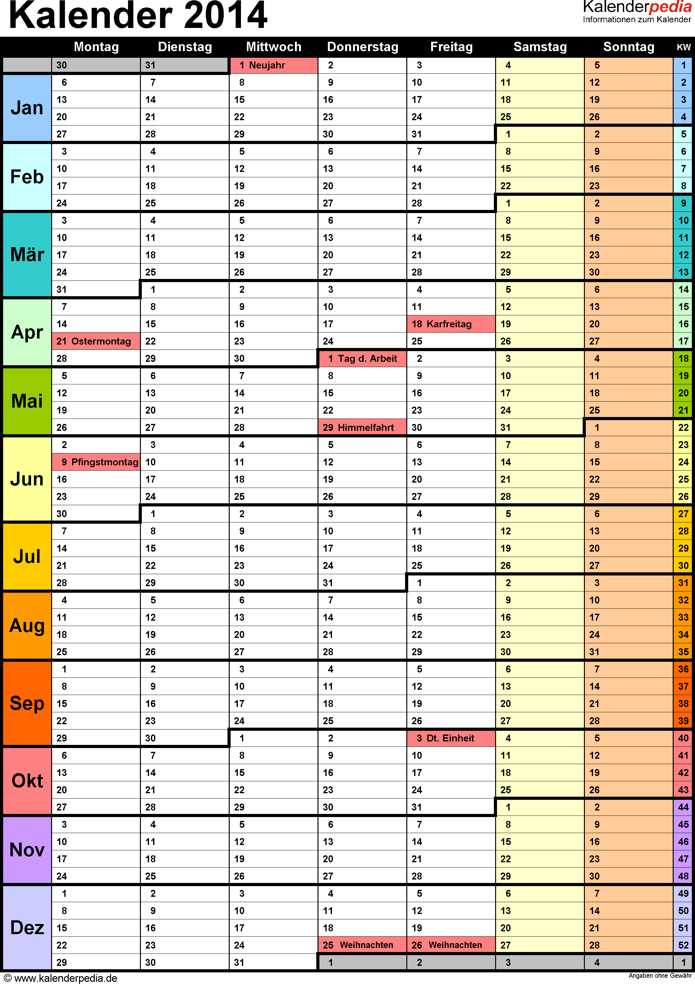 Vorlage 13: Kalender 2014 für <span style=white-space:nowrap;>Word, Hochformat, 1 Seite, in Farbe, mit Wochengliederung