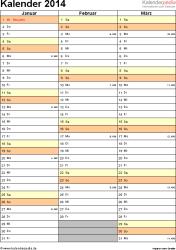 Vorlage 12: Kalender 2014 für Word, Hochformat, 4 Seiten, Quartal auf einer Seite