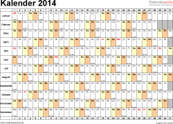 Vorlage 6: Kalender 2014 für <span style=white-space:nowrap;>Word, Querformat, 1 Seite, Tage nebeneinander