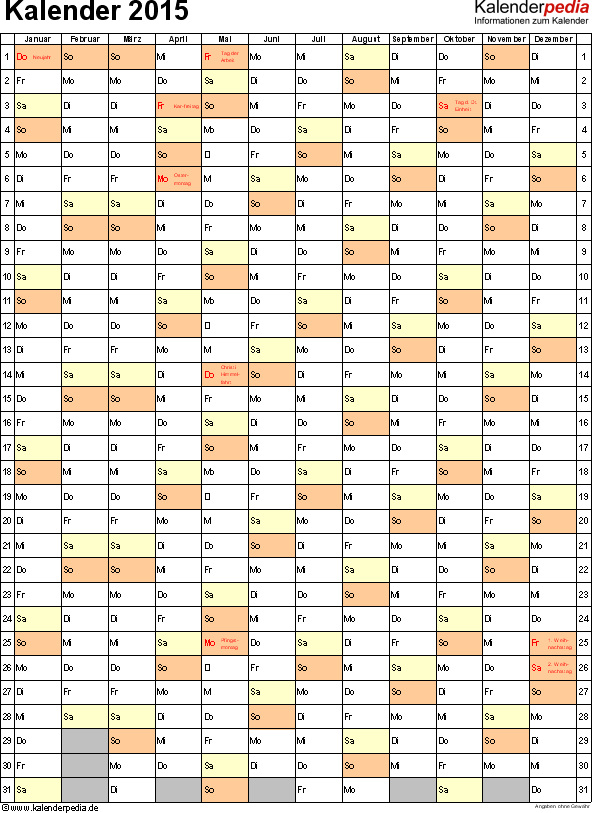 Vorlage 10: Kalender 2015 für <span style=white-space:nowrap;>Excel, Jahresansicht, Hochformat, 1 Seite