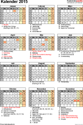 Vorlage 16: Kalender 2015 für Excel, Hochformat, 1 Seite, mit Feiertagen und Festtagen