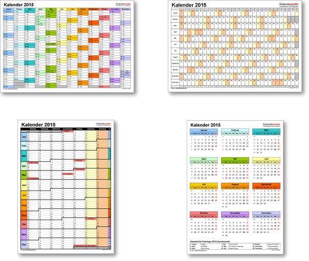 Kalendervorlagen 2015 für Excel, Word und PDF
