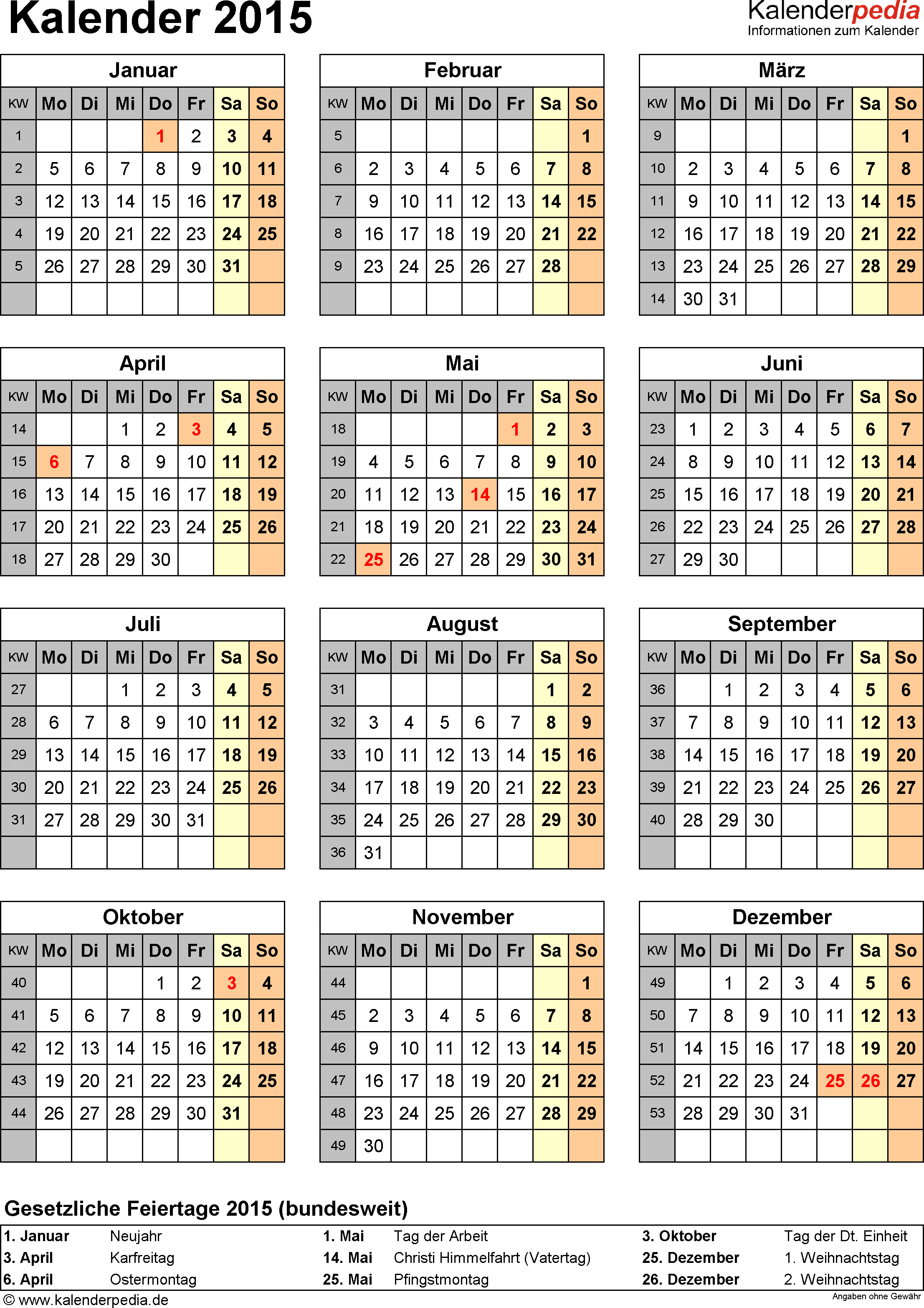 Vorlage 15: Kalender 2015 für <span style=white-space:nowrap;>Excel, Jahresansicht, Hochformat, 1 Seite