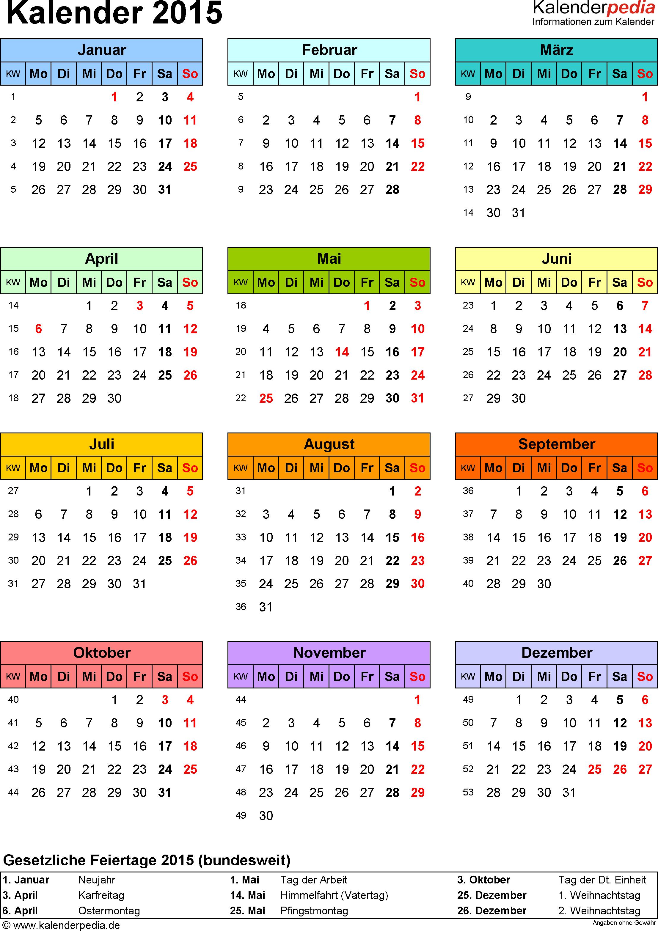 Vorlage 14: Kalender 2015 für <span style=white-space:nowrap;>Excel, Hochformat, 1 Seite, Jahresübersicht, in Farbe