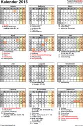 Vorlage 16: Kalender 2015 als PDF-Datei, Jahresansicht, Hochformat, 1 Seite, mit Feiertagen und Festtagen