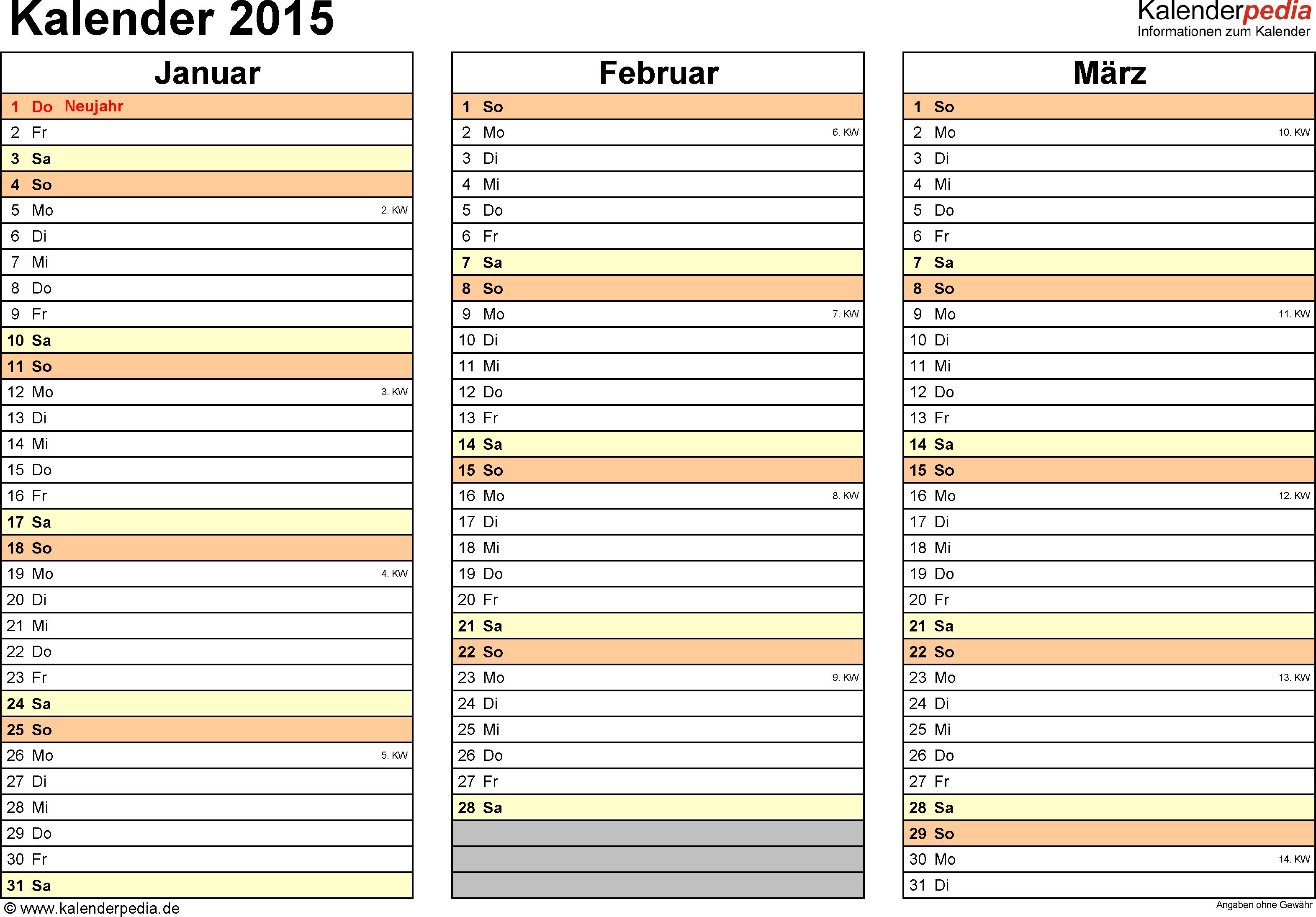 Vorlage 6: Kalender 2015 als PDF-Datei, Querformat, 4 Seiten, jedes Quartal auf einer Seite