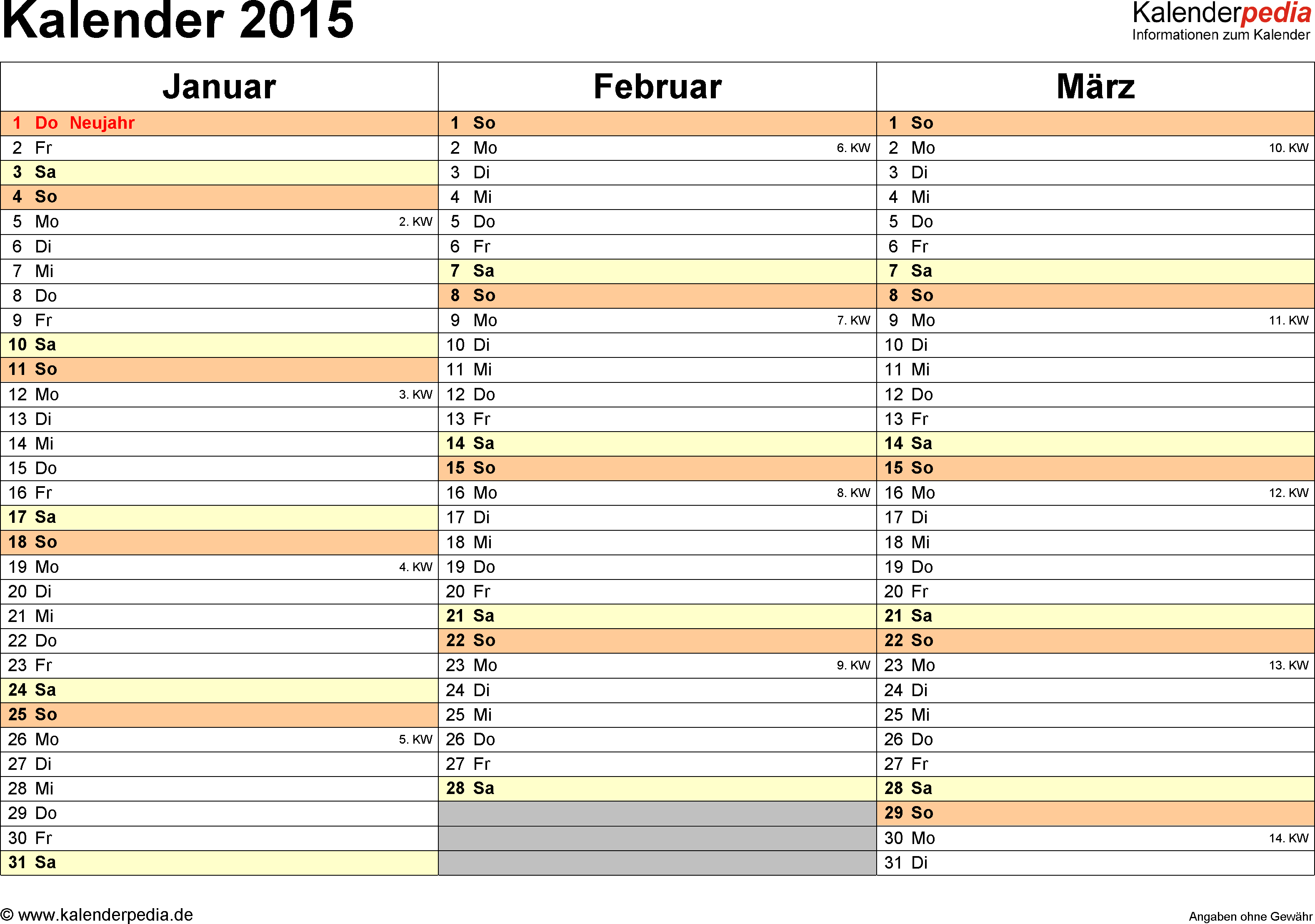 Word-Kalender 2015 Vorlage 6: Querformat, 4 Seiten, jedes Quartal auf einer Seite